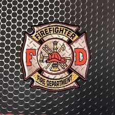 """FIREFIGHTER Sticker Maltese cross Domed Decal Emblem CAR Sticker 3D 3.2"""""""