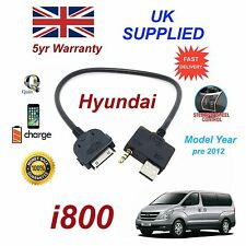 For Hyundai i800 iPhone 3gs 4 4s iPod USB & 3.5mm Aux Cable Model Year Pre 2012