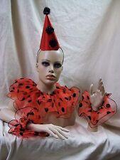 Red Black Clown Costume Kit Hat Collar Cuffs Polka Dot Jester Joker Mime Circus