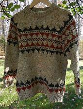 GAELTARRA Men's Brown Crewneck Sweater Wool Fair Isle Hand Knit Ireland Sz M