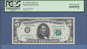 "1969A  $5 Fr # 1970-B  (BB Block) PCGS PPQ  69  TOP POP  ""SCROLL DOWN FOR SCANS"""
