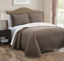 3-piece Taupe Ivory Pinsonic Quilted Reversible Bedspread Set King Size