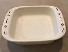 Longaberger USA Baking Dish 8x8x2 Traditions Red Very Good!