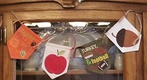 Autumn Harvest Fall Football Pumpkins & Turkey Embroidered Pennant Banner