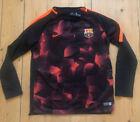 Kids Childs Nike Barca Barcelona Football Training Top Shirt L/s Age 12/13 Flece