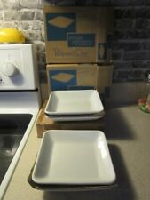 Lot Of 4 Pampered Chef Simple Additions 7� Square White Salad Dessert Plates New