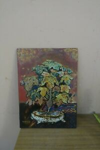"""Vintage Signed Van Sin Abstract Mixed Media Art Painting Laquerre Wood 11"""" x 15"""""""