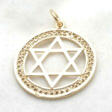Vintage 14k gold Jewish Star David Pendant filigree large encircled Judaica