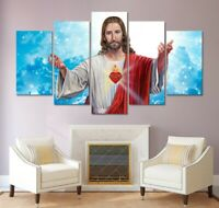 Jesus Christian religious 5 PCs Canvas Wall Art Poster Print Picture Home Decor