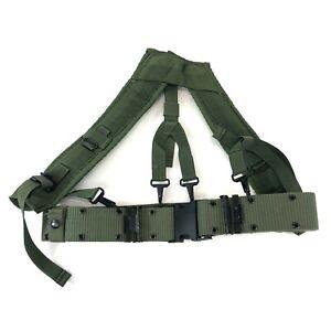 "OD Pistol Belt & Y Harness Suspenders ALICE MEDIUM Under 30"" Waist Military USGI"