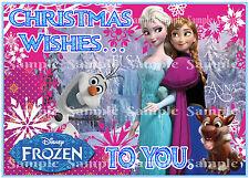 Disney Frozen Princess Elsa Anna Olaf Snowman Edible Icing Christmas Cake Topper