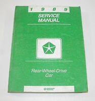 1989 Chrysler Dodge Plymouth Rear Wheel Drive Car Service Manual USED CONDITION