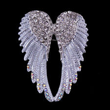 Lovely White Angel Wing 5.5cm Long Use Austria Crystal Brooch Pin Scarves
