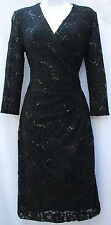 Ralph Lauren lace sequins evening night party dress sz 4 elegant knee lenght new