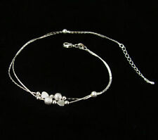 Silver Plated Anklet Gift Foot Bracelet Womens Barefoot Chain Beads Heart New r