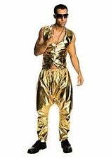 Gold MC Trousers Mens Fancy Dress 80s Rapper Hammer Time Adult Costume Accessory
