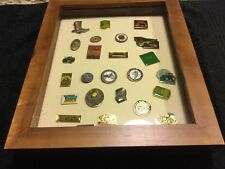 25 Rare Vintage John Deere Cap/Lapel Pins -w/ Display Case #2 - Nice Assortment