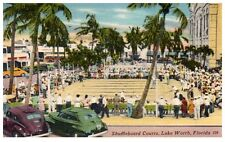 Postcard Shuffleboard Courts Lake Worth FL West Palm Area People Cars PC Sports