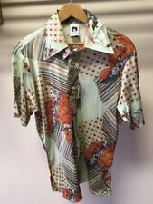 Vintage 1970's Andy New York Graphic Cabana Cruise Wear Shirt Castle Geometric M
