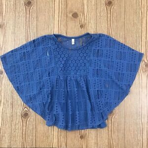 Speechless Girls Lace Blouse Poncho Style Top - Size L large - Medium Navy Blue