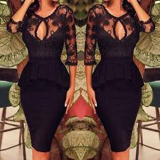 Womens Sexy Lace Cocktail Party Black Bodycon Bandage Pencil Dress Fashion SMLXL