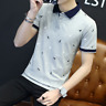 Fashion Men's Slim Fit Short Sleeve Cotton Shirt T-shirt Casual Tops Blouse