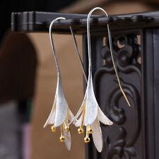 Femmes bijoux élégantes dames d'argent orchidée longue boucles d'oreilles