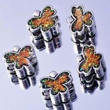 5Pcs White GF Silver Filled Enamel Butterfly Charms BEADS Fit European DIY