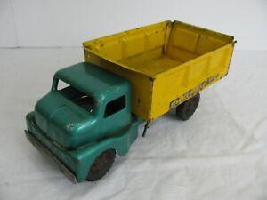 Vintage 1950s Structo Pressed Steel Green & Yellow Hydraulic Dump Truck VG