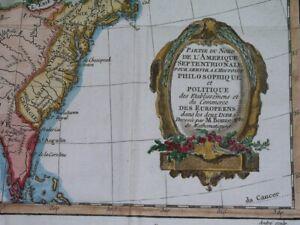 1774 NICE ORIGINAL MAP UNITED STATES CANADA FLORIDA LOUISIANA GEORGIA NEW YORK