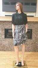 Women's feminine gray print chiffon tiered ruffle skirt by Worthington sz 16