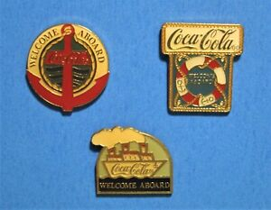 COCA COLA - COKE - WELCOME ABOARD - BOAT ANCHOR - 3 VINTAGE 1990 LAPEL PIN LOT