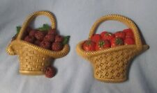 1985 Burwood Products plastic wall decor plaques strawberry & raspberry baskets