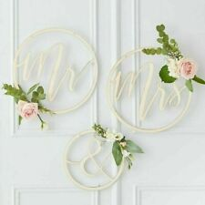 Mr Mrs Wooden  Hanging Hoops -  Wedding Party Venue Decoration
