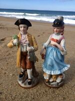 BRINNS Statues Vintage Dresden Lace Man & Woman Sitting Figurines Porcelain