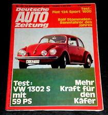 Deutsche Auto Zeitung 25/70 Test und Tuning VW Käfer 1302 S,Fiat 124 Sport 1600,