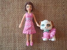 Polly Pocket Doll and Pet Dog Pink Matching Outfits Clothes Dresses R51