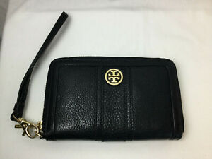 Tory Burch Leather Wristlet, Black with Gold Accent, Wallet