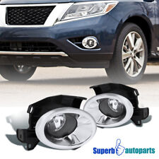 For 13-16 Nissan Pathfinder Clear Driving Bumper Fog Lights Pair+Switch+Bulbs