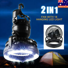 HOT 2in1 18 LED CAMPING TENT LIGHT LANTERN LAMP with CEILING FAN N HANING HOOK