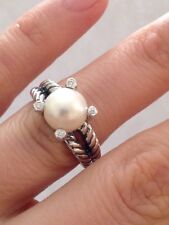 Pre Ownd David Yurman Sterling Silver  Classic Pearl and Diamond Ring, Size 8