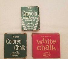 Three Vintage Crayola Chalk; One is of No 816 Binney Smith 16 sticks-Never Used