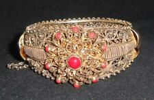Antique Vintage Sterling Silver Coral Filigree Cuff Bracelet