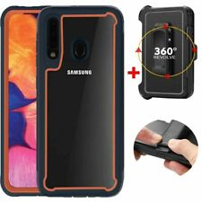 For Samsung Galaxy A20S Phone Case Clear Hard Cover With Shockproof Belt Clip