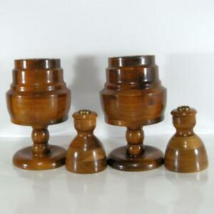 "4 Solid Walnut Candle Holders 2 Pillar 2 Taper Multiple Wood Panels 9"" and 4.75"""