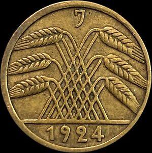 1924 Germany 5 Reichspfennig - Weimar Republic - Hamburg