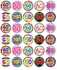 60th Birthday Mixed x 30 Cupcake Toppers Edible Wafer Paper Fairy Cake Toppers
