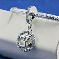 Authentic 100% 925 Sterling Silver Om Symbol CZ Dangle Charm Bead