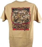 Mens NWT Browning Good Old Boys Buckmark Classic T-Shirt Old Gold Sz M L XL 2XL