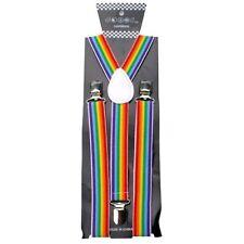 NEW Rainbow Striped SUSPENDERS GAY PRIDE RAINBOW Lesbian Bisexual